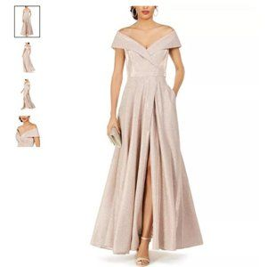 XSCAPE Off-The-Shoulder Shimmer Wrap Gown